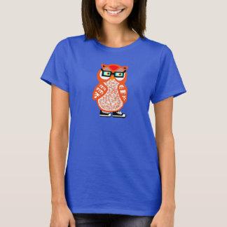 La camiseta de las mujeres anaranjadas del búho