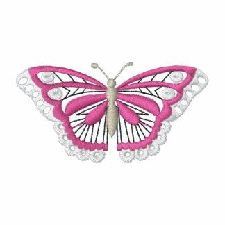 La camiseta de las mujeres bordadas mariposa