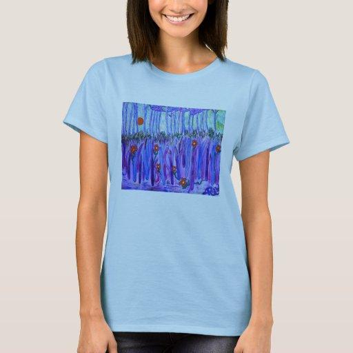 La camiseta de las mujeres - cuchillas en el