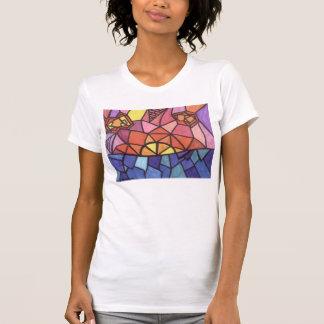 La camiseta de las mujeres de la puesta del sol