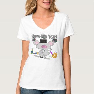 La camiseta de las mujeres del ratón del Año Nuevo Polera