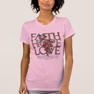 La camiseta de las mujeres florales del amor de la polera