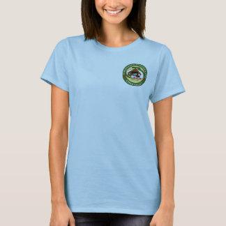 La camiseta de las mujeres, logotipo azul claro,