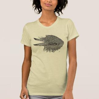 La camiseta de las mujeres Plano-atadas del