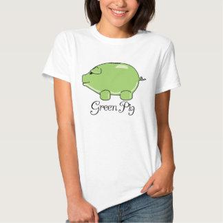 La camiseta de las mujeres verdes del cerdo polera