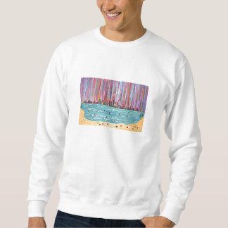 La camiseta de los hombres - ciudad tropical sudadera con capucha