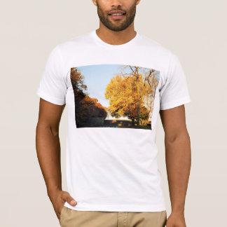 La camiseta de los hombres de la puesta del sol de