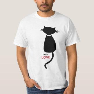 La camiseta de los hombres de los pares del gatito poleras