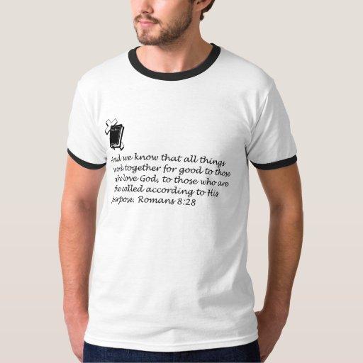 La camiseta de los hombres del 8:28 de los romanos remeras
