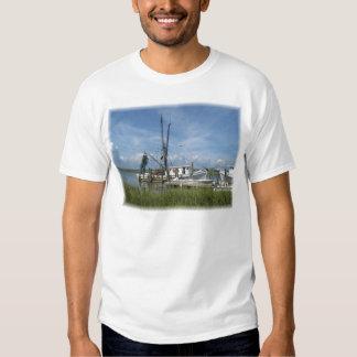 La camiseta de los hombres del barco del camarón camisas