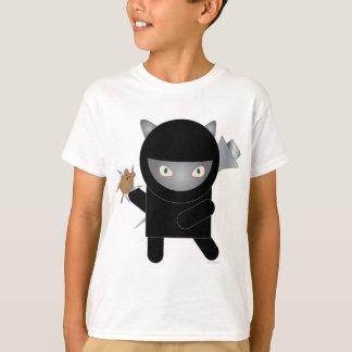 la camiseta de los niños del gatito del ninja poleras