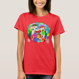 La camiseta del amante del gato del navidad