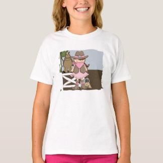 La camiseta del chica feliz de la vaquera remeras