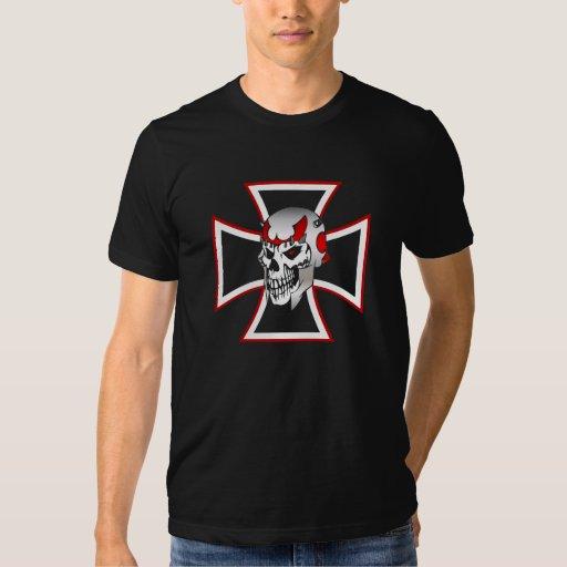 La camiseta del cráneo del hierro de los hombres playera