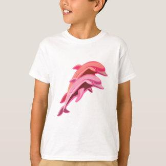 La camiseta del delfín de los niños rosados del remera