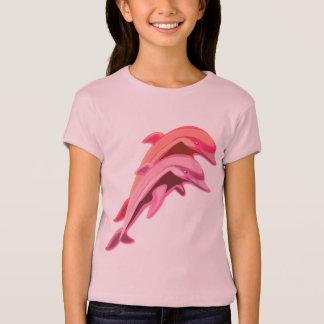 La camiseta del delfín del chica rosado del diseño poleras