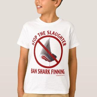 La camiseta del niño de Finning del tiburón de la Playera