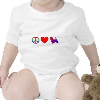La camiseta del niño de Westies del amor de la paz