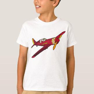 La camiseta del vintage del niño rojo del avión