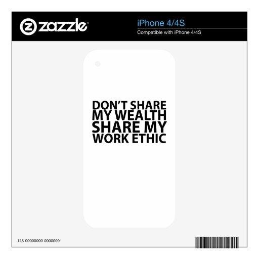 La camiseta no comparte mi parte de la riqueza los iPhone 4S calcomanía