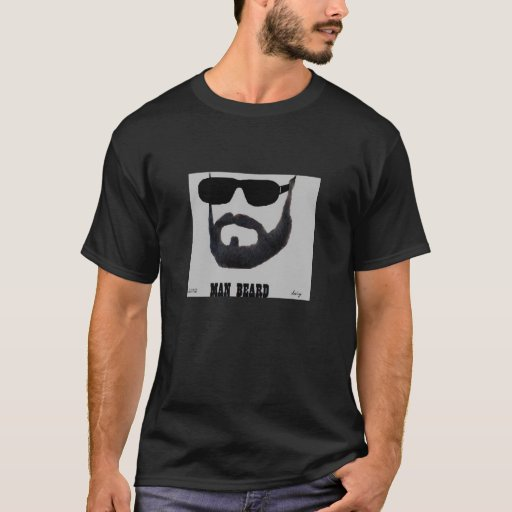 La camiseta oscura básica de la barba del hombre