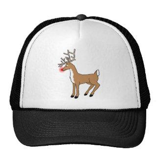 La camiseta roja del navidad del reno de la nariz gorras