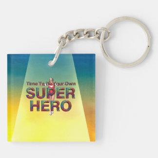 La CAMISETA sea poseer al super héroe Llavero Cuadrado Acrílico A Doble Cara