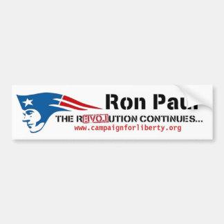 La campaña de Ron Paul para la revolución del patr Etiqueta De Parachoque