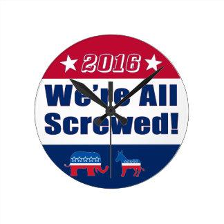 La campaña divertida el 2016% el pipe% nos todos reloj redondo mediano
