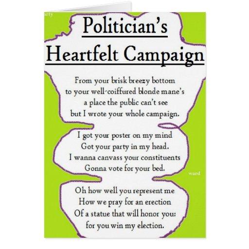 La campaña sentida del político tarjeta de felicitación