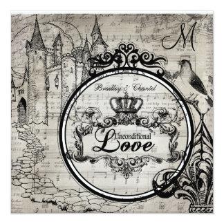 """La canción pagina el boda incondicional del amor invitación 5.25"""" x 5.25"""""""