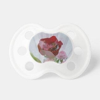 La capa botánica del rosa rojo personaliza diseño chupetes de bebé