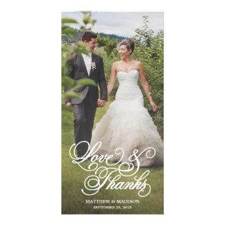 La capa clásica el   que se casa le agradece tarjeta personal con foto
