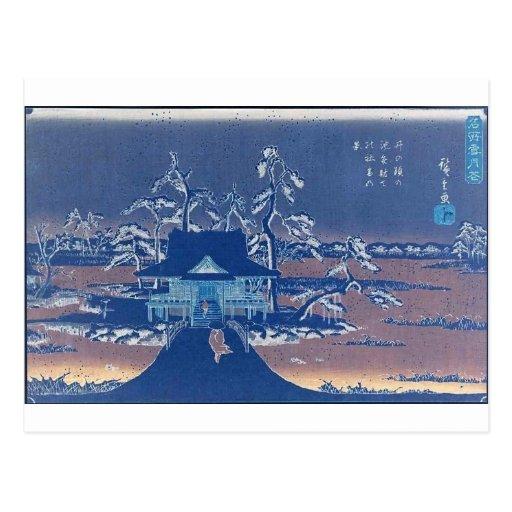 La capilla de Benzaiten en Inokashira en nieve Tarjetas Postales