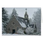 La capilla del invierno tarjeta de felicitación