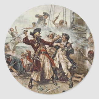 La captura de Blackbeard Pegatina Redonda