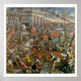 La captura de Constantinopla en 1204 (aceite en ca Poster