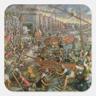 La captura de Constantinopla en 1204 (aceite en Pegatina Cuadrada
