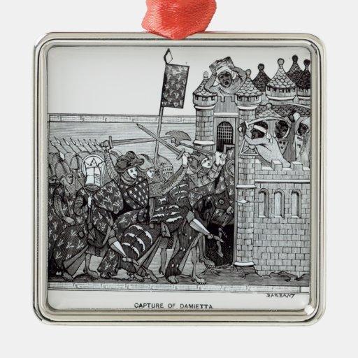 La captura de Damietta en 1249 Adorno Cuadrado Plateado