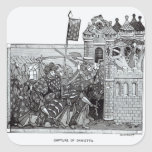 La captura de Damietta en 1249 Pegatina Cuadrada