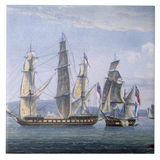 La captura de Le Sparviere el 3 de mayo de 1810, e Azulejo Ceramica