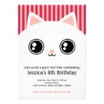 La cara blanca linda del gato del gatito embroma c invitaciones personalizada