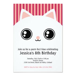 """La cara blanca linda del gato del gatito embroma invitación 5"""" x 7"""""""