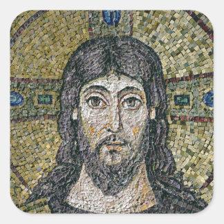 La cara de Cristo Calcomanía Cuadrada Personalizada