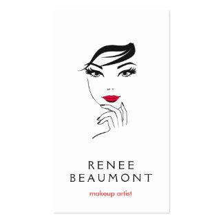 La cara de la mujer con blanco elegante de los tarjetas de visita