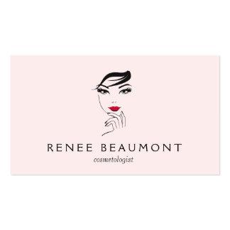 La cara de la mujer con rosa elegante de los tarjetas de visita