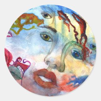 La cara de la mujer del retrato de Surrelistic Pegatina Redonda