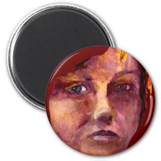 La cara de la mujer emocional imán redondo 5 cm