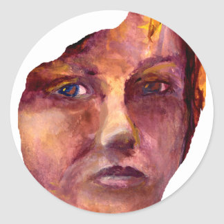 La cara de la mujer emocional pegatina redonda