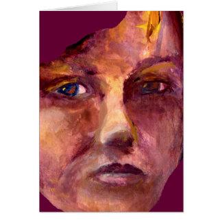 La cara de la mujer emocional tarjeta de felicitación
